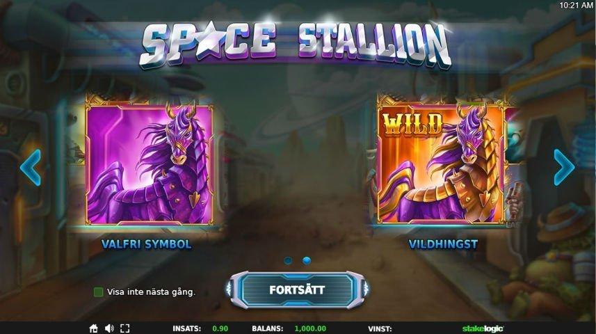 Denna bilden visar upp de två hästsymbolerna i casinospelet Space Stallion. symbolen Vildhingst fungerar som wild och fungerar därmed som ett substitut för alla andra symboler i spelet.