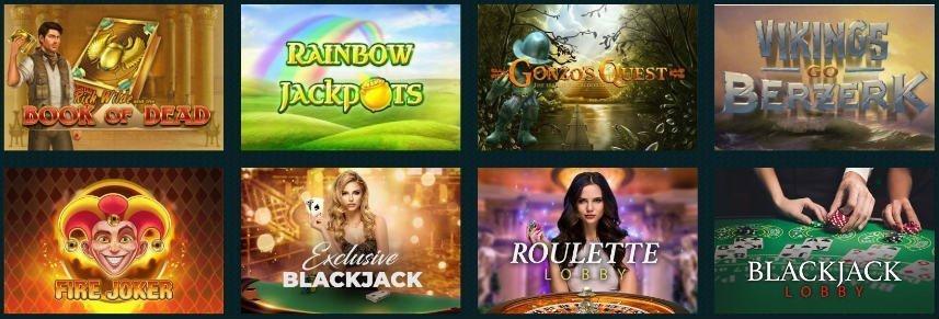 På bilden ser vi ett urval av casinospel tillgängliga på Spela Casino. Bland de spel vi ser hittar vi bland annat Book of Dead, Gonzos Quest, Vikings Go Berzerk och Fire Joker.