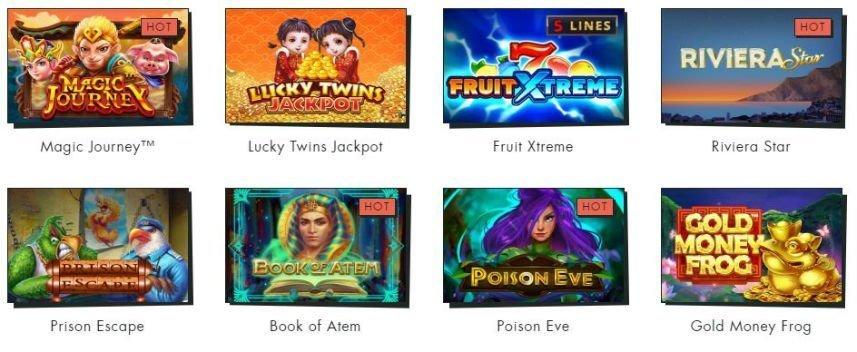 På denna bilden ser vi thumbnails från ett antal casinospel som finns att spela på Spilleren. Här ser vi spelen Magic Journey, Lucky Twins Jackpot, Fruit Xtreme, Riviera Star, Prison Escape, Book of Atem, Poison Eve, Gold Money Frog.