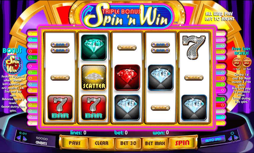 Här ser vi casinospelet Spin n Win. Centrerat är själva spelytan. Där hittar vi symboler i form av siffror, bars och diamanter. Omkring ser vi vad jag tror är ett lyckohjul. Längst ned har vi kontrollytan med insatsalternativ och startknapp.