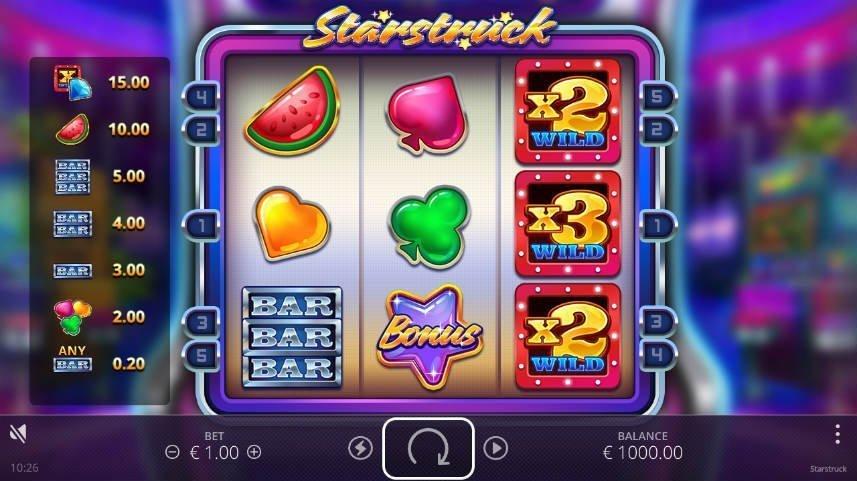 Starstruck är ett casiospel från NoLimit City. Här ser vi själva basspelet med information om symbolvinster, spelyta med klassiska casinosymboler och kontrollyta med startknapp, saldo och insats.