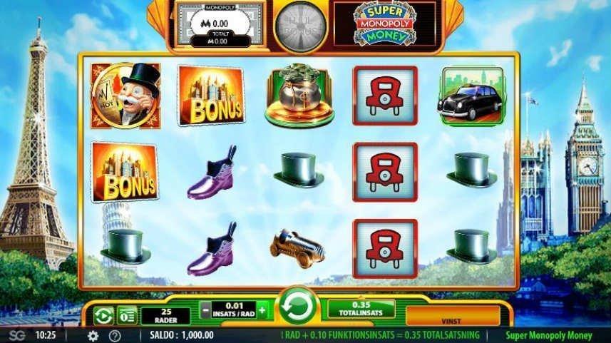 Skärmdump från casinospelet Super Monopoly Money. På spelytan ser vi klassiska monopolsymboler som bilen och hatten. Vi ser även en bonussymbol. I bakgrunden syns en tecknad bild av Paris. Längst ned syns kontrollytan med insatsalternativ, meny, saldo och startknapp.