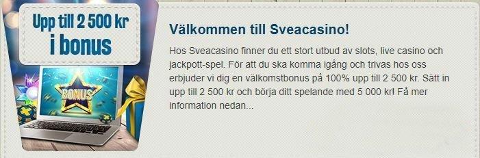 Ingormation om välkomstbonusen på Sveacasino. Följande text går läsa på bilden: