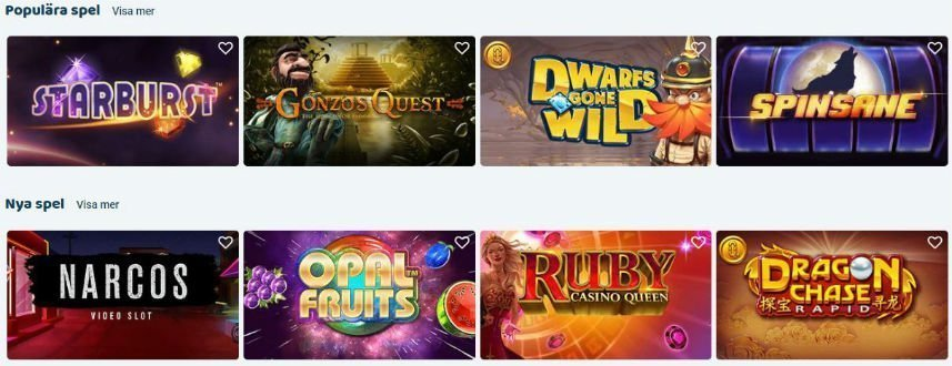 Bilden visar ett urval av de spel som finns tillgängliga på SvenPlay Casino