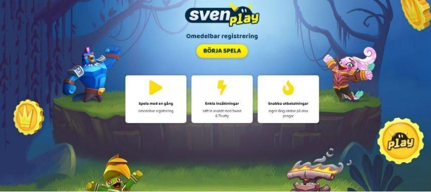 Skärmbild från SvenPlay Casino. På bilden ser vi casinots startsida. Vi ser inloggning och marknadsföring om snabba uttag och snabb registrering.