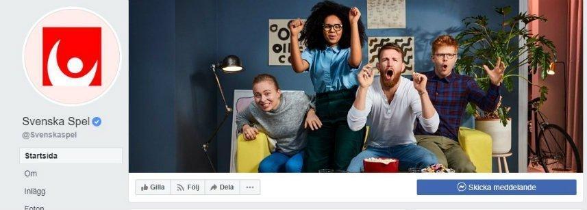 Skärmbild från Svenska Spels facebook.