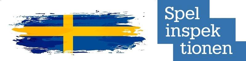 spelinspektionens logo och en svensk flagga