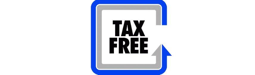 Bilden består av två fyrkanter, ytterst en blå och inom en grå. Inuti dessa står texten Tax Free i svarta bokstäver.