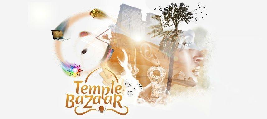 """Grafik från Temple Nile. Vi ser bland annat en mur, ett kvinnligt ansikte, ett träd, en laptop, en bok, en stjärna, en kortlek, tärningar, ett träd och texten """"Temple Bazaar""""."""