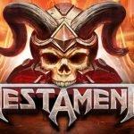 casinospelet testament en dödskalle med horn syns ovanför texten Testament.
