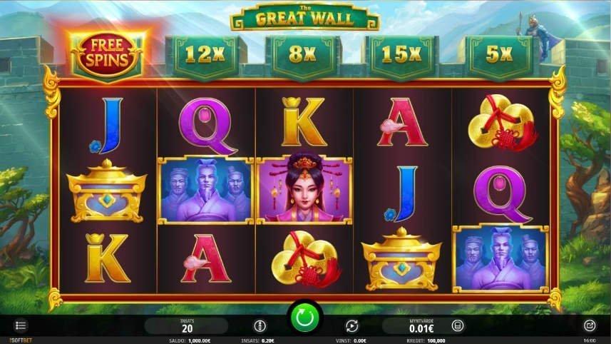 På bilden ser vi casinospelet The Great wall. I center ser vi spelytan bestående av tre rader och fem hjul. På spelytan finns symboler bestående av bokstäver, människor, symbaler och kistor. I bakgrunden syns en tecknad version av den kinesiska muren.