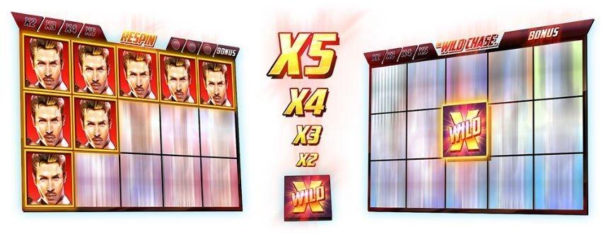 casinospelet The Wild Chase från utvecklaren Quickspin. Bilden visar två olika skärmdumpar från spelet, i mitten ser vi multipliers och wildsymbolen.