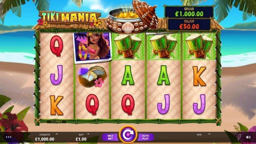 Skärmdump från gundspelet i Tiki Mania från Microgaming