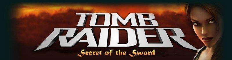 Här ser vi casinospelet Tomb Raider Secret of the Swords logotyp.