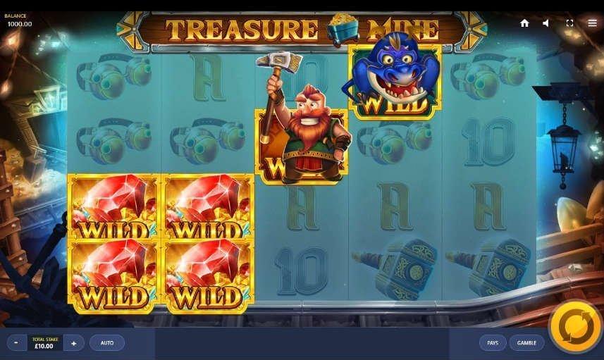Skärmbild från spelautomaten Treasure Mine. I denna bilden är spelets wildsymboler upplysta.