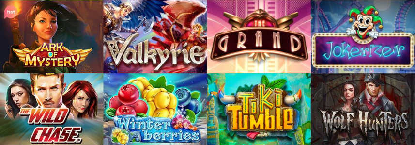 Urval av casinospel tillgängliga på Turbico- Här ser vi bland annat The Wild Chase, Ark of Mystery och Tiki Tumble.