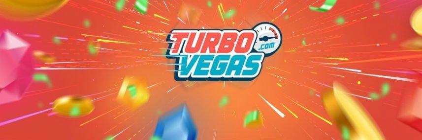 Turbovegas logotyp färdas i hög hastighet. Juveler och mynt flyger förbi i farten.