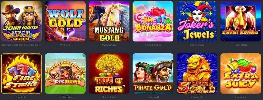 Bilden visar ett urval av casinospel tillgängliga på Vikings Casino. Det mest nämnvärda av dessa spel är Sweat Bonanza. Samtliga av spelen kommer från utvecklaren Pragmatic Play.