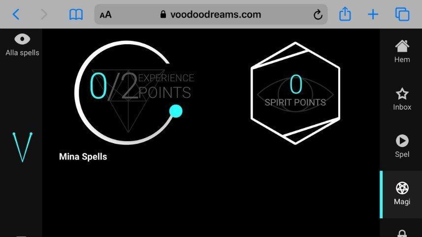 Bilden visar duellsystemet på nätcasinot Voodoo Dreams. Vi ser här två mätare som visar hur många experience points och spirit points spelaren har.