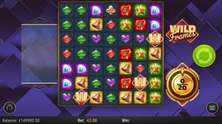 Bild på casinospelet Wild Frames. i center ser vi den stora spelytan bestående av 7x7 symboler. Symbolerna består av klassiska casinosymboler i form av kortsviter, klockor, diamanter och sjuor. Till höger syns startknappen, en mätare och wild frames logotyp.