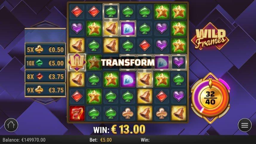 I denna bilden har funktionen transform aktiverats i casinospelet Wild Frames.