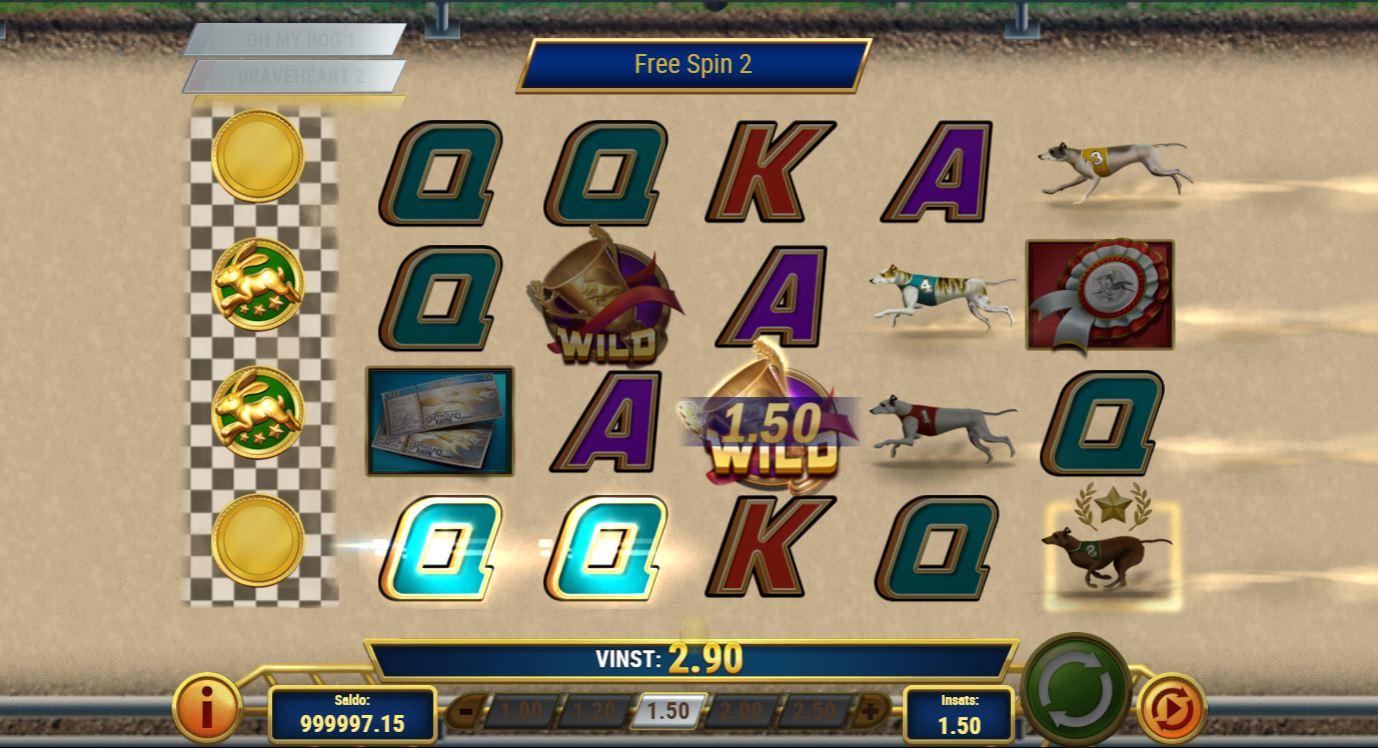 På bilden ser vi frispelsläget aktiverat i casinospelet Wildhound Derby.