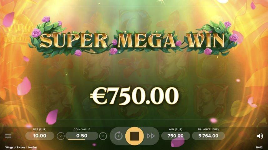 """Stor vinst i casinospelet Wings of Riches. Vi ser texten """"Super mega win"""" under står det """"750,00 euro""""."""