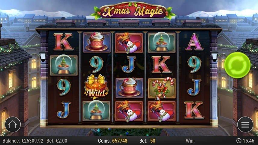 Skärmbild från casinospelet Xmas Magic. Visar spelets olika symboler, spelyta, kontrollfält och en julpuntad tecknad stad i bakgrunden.